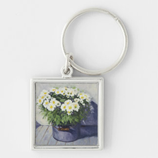 0522 White Mums in Enamelware Pot Keychain