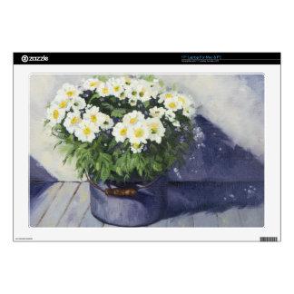 0522 White Mums in Enamelware Pot Laptop Skin