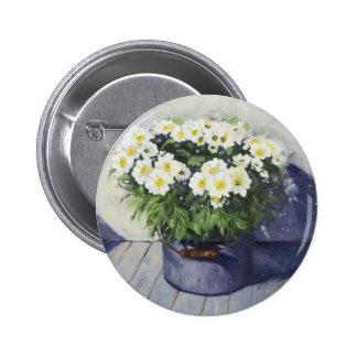 0522 White Mums in Enamelware Pot Pinback Button