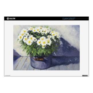 0522 White Mums in Enamelware Pot Skin For Laptop