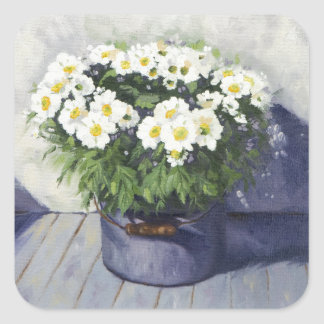 0522 White Mums in Enamelware Pot Square Sticker