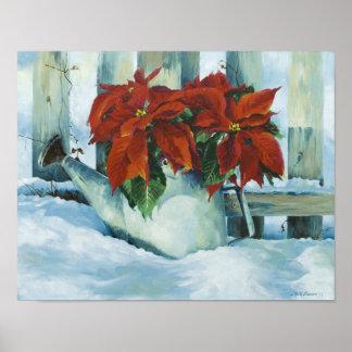 0525 Poinsettia in Watering Can Art Print
