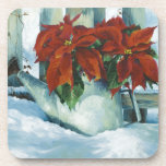 0525 Poinsettia in Watering Can Beverage Coasters