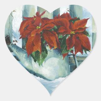 0525 Poinsettia in Watering Can Heart Sticker