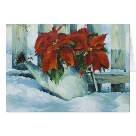 0525 Poinsettia in Watering Can Holiday Card