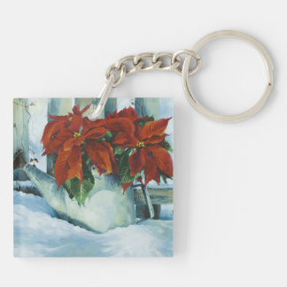 0525 Poinsettia in Watering Can Keychain