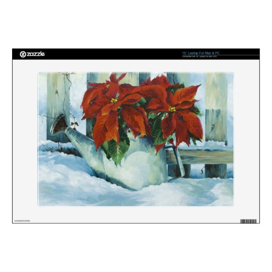 0525 Poinsettia in Watering Can Laptop Skins