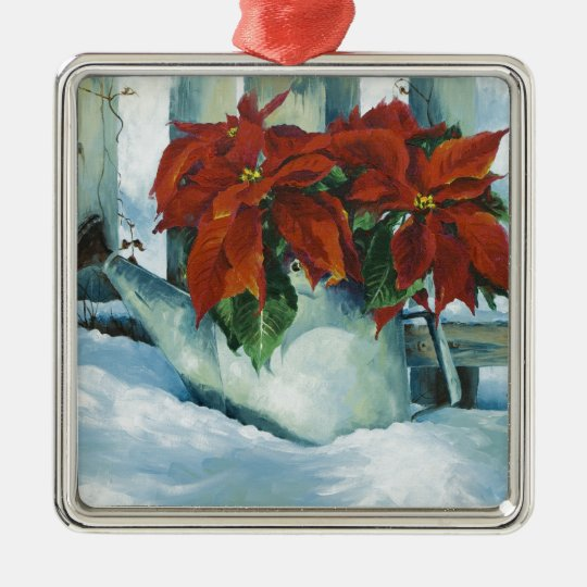 0525 Poinsettia in Watering Can Metal Ornament