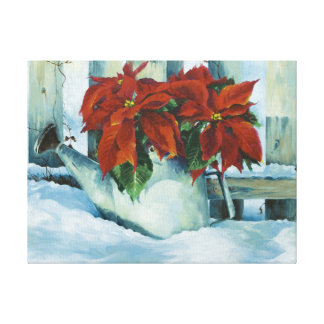 0525 Poinsettia Watering Can Wrapped Canvas Print