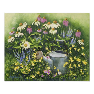 0530 Cone Flowers & Watering Can Art Print