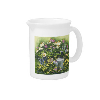 0530 Cone Flowers & Watering Can Pitcher