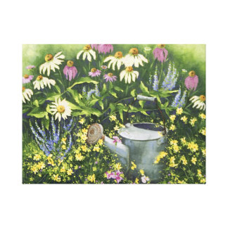 0530 Cone Flowers Watering Can Wrapped CanvasPrint Canvas Print