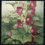 "0536 Burgundy Hollyhocks Cloth Napkins<br><div class=""desc"">From an original acrylic painting by Ruth Garrison</div>"