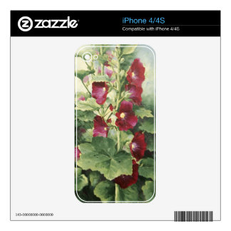 0536 Burgundy Hollyhocks Decal For The iPhone 4