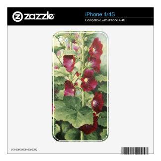 0536 Burgundy Hollyhocks iPhone 4/4S Skin iPhone 4 Skins