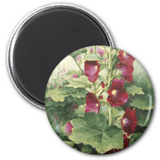 0536 Burgundy Hollyhocks Magnet