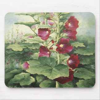 0536 Burgundy Hollyhocks Mousepad