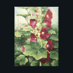 "0536 Burgundy Hollyhocks Wrapped Canvas Print<br><div class=""desc"">From an original acrylic painting by Ruth Garrison. Original size approximately 16&quot; x 20&quot;,  but feel free to order the size that fits your needs.</div>"