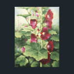"""0536 Burgundy Hollyhocks Wrapped Canvas Print<br><div class=""""desc"""">From an original acrylic painting by Ruth Garrison. Original size approximately 16&quot; x 20&quot;,  but feel free to order the size that fits your needs.</div>"""