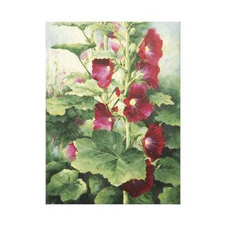 0536 Burgundy Hollyhocks Wrapped Canvas Print