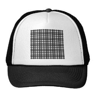 053 BLACK WHITE GREY GRAY PLAID COUNTRY PATTERN TE TRUCKER HAT