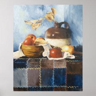 0541 Apples & Crockery on Quilt Art Print
