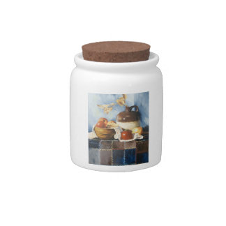 0541 Apples & Crockery on Quilt Candy Jar