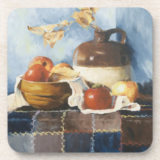 0541 Apples & Crockery on Quilt Cork Coasters