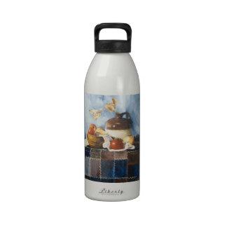 0541 Apples Crockery on Quilt Water Bottle
