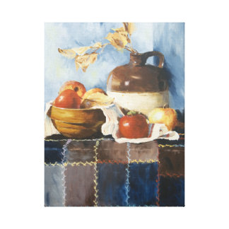 0541 Apples, Crockery & Quilt Wrapped Canvas Print