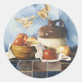 0541 manzanas y loza en el edredón pegatina redonda