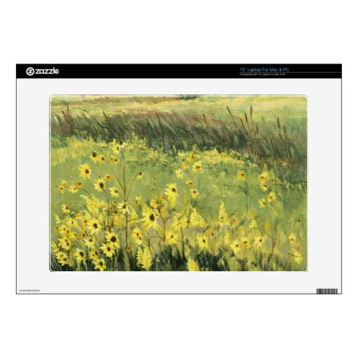 """0545 Landscape with Sunflowers 15"""" Laptop Decals"""