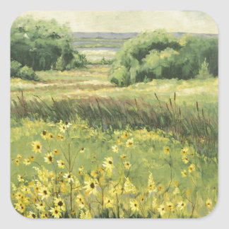 0545 Landscape with Sunflowers Square Sticker