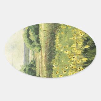 0545 Landscape with Sunflowers Sticker