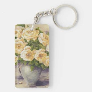 0548 rosas amarillos en jarra llavero rectangular acrílico a doble cara