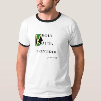 """058 Jamaica T-shirt  (ringer)""""Bolt Outa Control"""""""