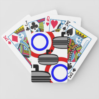 059 CURLING SPORTS BLACK RED ROYAL BLUE WHITE RECR BICYCLE PLAYING CARDS