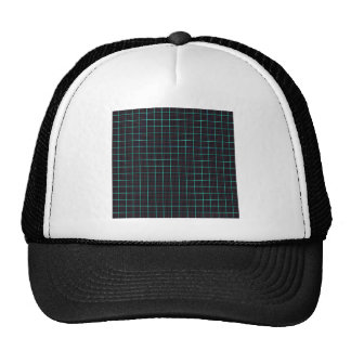 064 PLAID COUNTRY SQUARE black green PATTERN BACKG Trucker Hat