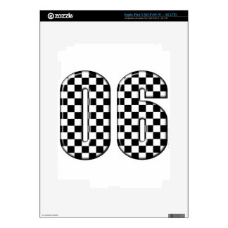 06 checkered auto racing number skin for iPad 3