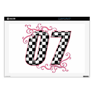 "07 auto racing number pink 17"" laptop skins"