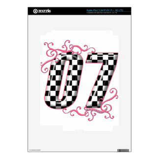 07 auto racing number pink decal for iPad 3