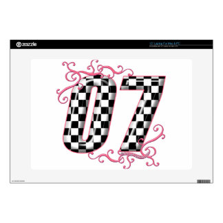 07 auto racing number pink laptop decal