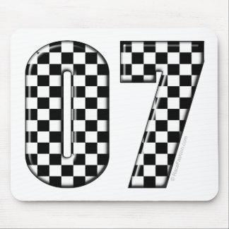 07 checkered auto racing number mouse pad