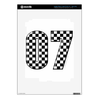 07 checkered auto racing number skin for iPad 3
