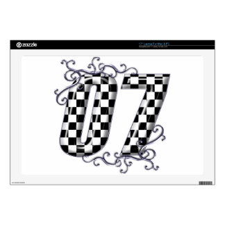 07 checkered flag number laptop decals