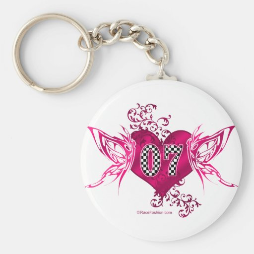07 race number butterflies keychains