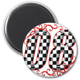 08 auto racing number magnet
