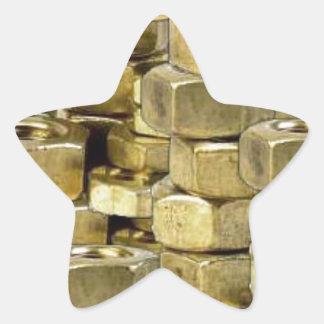 092106-nuts BLING GOLD TOUGH GANGSTER MECHANICS RA Star Sticker