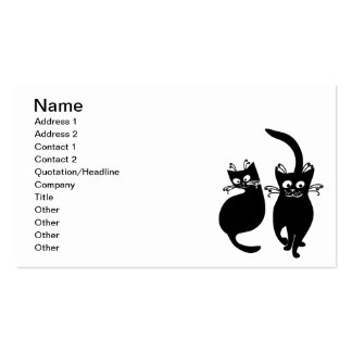 092 AND 081 BLACK CARTOON CATS PETS ANIMALS BLACK BUSINESS CARD
