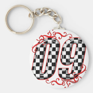 09 auto racing number keychain